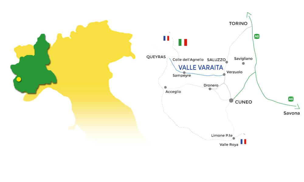 Mappa Piemonte con zoom sulla Valle Varaita