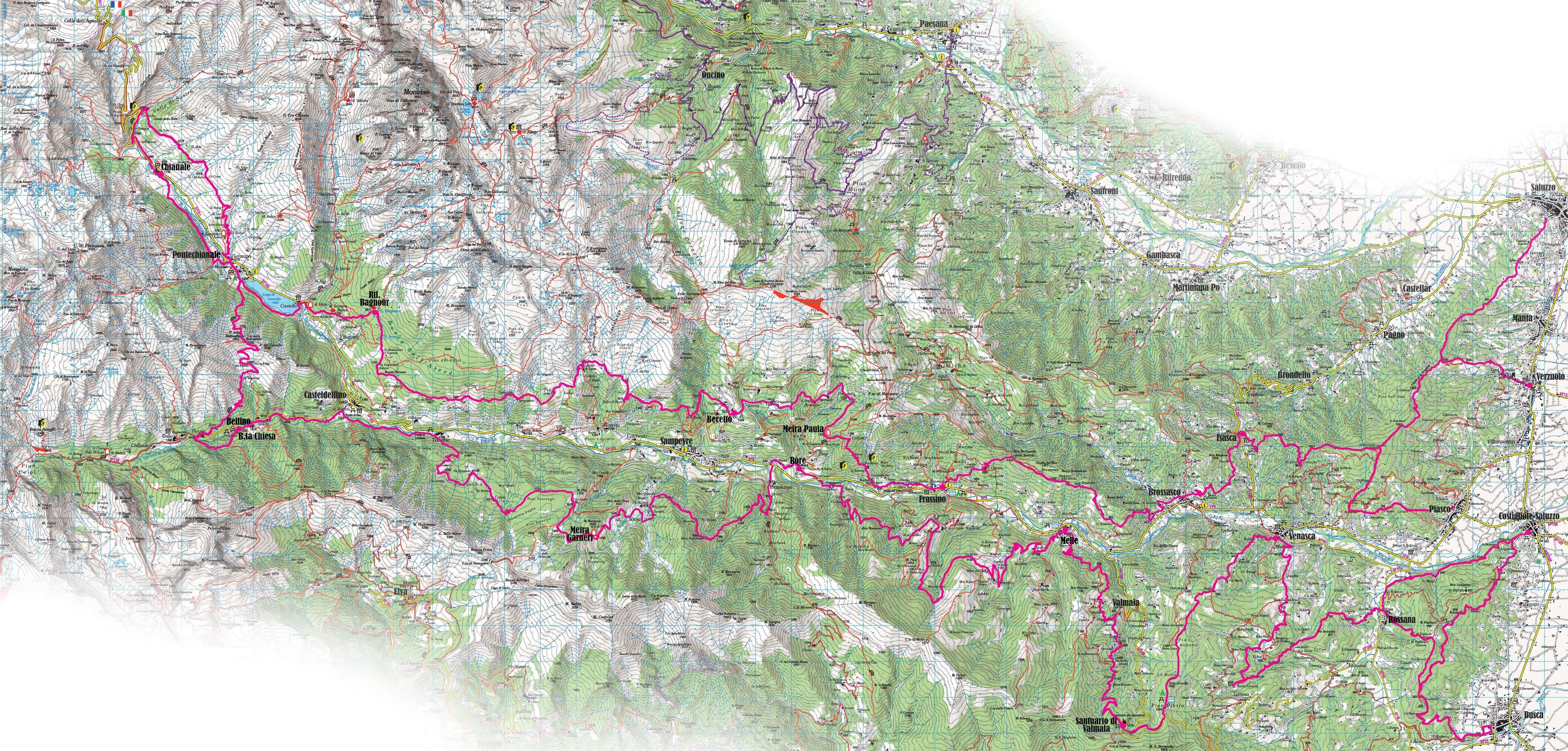 Mappa trekking Valle Varaita